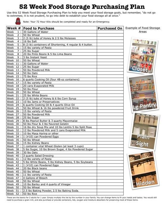 52 Week Food Storage Purchasing Plan | Prepping - Homesteading and Prepping - Doomsday Preppers