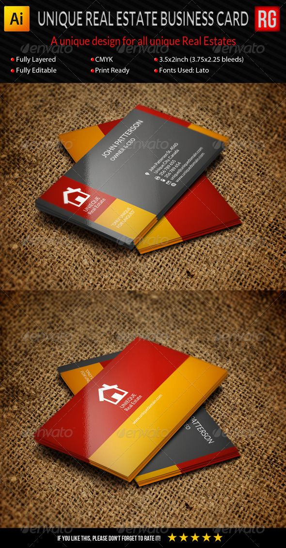 Unique Real Estate Business Card  #GraphicRiver         An Elegant, Stylish, Clean and Unique Business Card for unique real estates.  	 All texts, layers and colors can be changed and edited easily.   Feature:    Illustrator Ai Format (Front and Back in separate files)  EPS (to open it in all version of Illustrator   Size 3.5×2inch (3.75×2.25inch with bleed)  Fully Editable   Fully Layered   CMYK   300dpi   Print Ready   Free font used – Lato   Including logo       Created: 6November13…