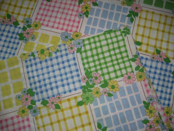 Mid Century Floral Twin Flat Bed Sheet  Cannon Cotton by MercyMaud