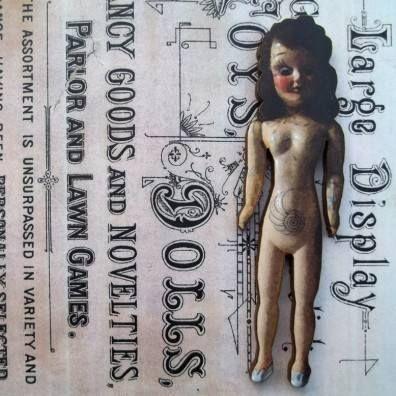 Cilla - Wooden Doll Pin Brooch