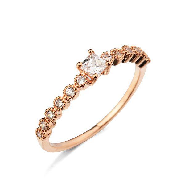 Горячая распродажа мода ювелирные изделия тонкий золотое кольцо с блестящей циркона для милые девушки