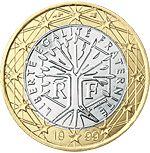 """€1 Frankrijk, dit is een boom met de franse waarden: Liberté, Egalité, Fraternité"""" (vrijheid, gelijkheid, broederschap)."""