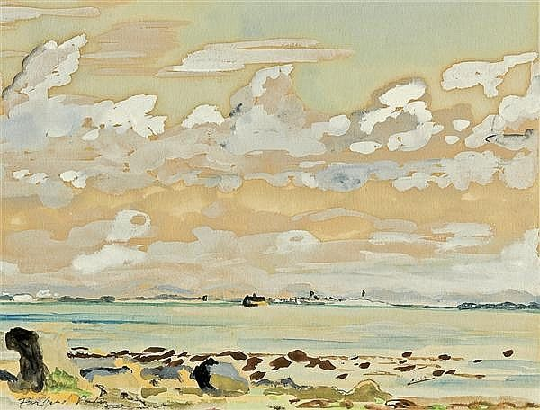 """A View from the Coast,"" Fairfield Porter, watercolor and gouache, 5 3/4 x 7 1/2"", private collection."
