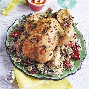Recept - Jamies geroosterde kip met kruiden en couscous - Allerhande