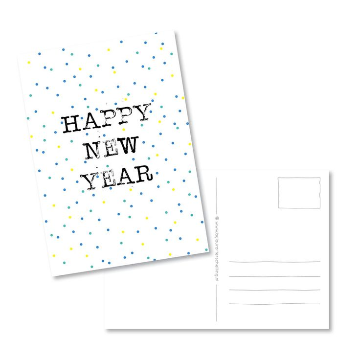 Kaart | happy new year - blauw/groen confetti