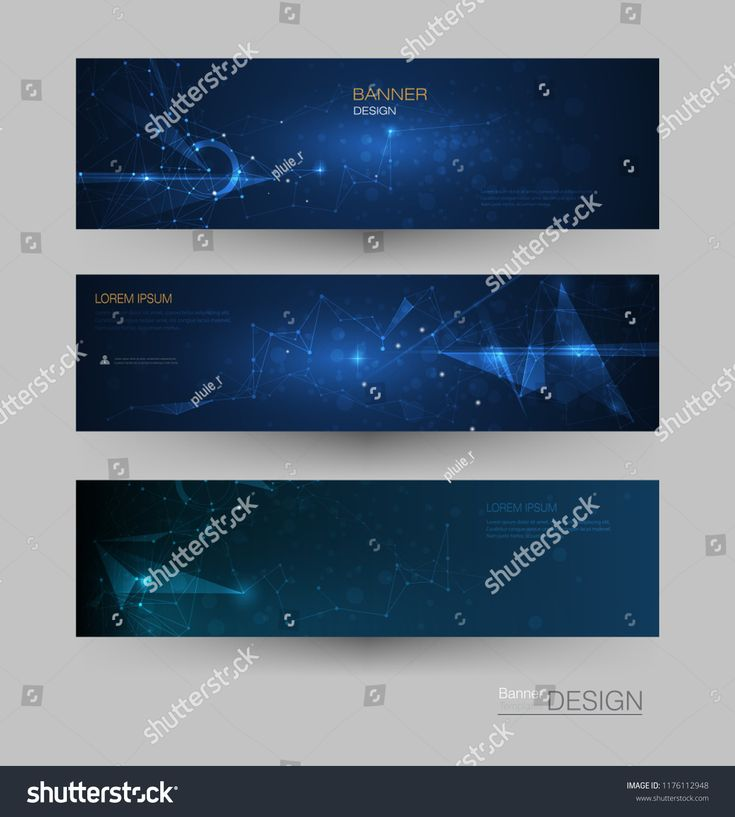 Abstract Molecules banner set with line, geometric, polygon. Vector design network background. Modern science, chemistry technology concept for websit…