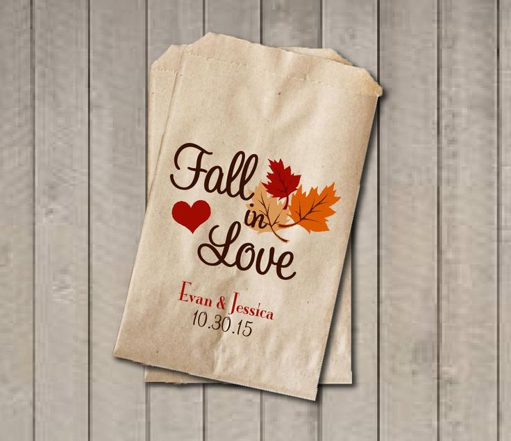 Wedding Favor Bags, Fall in Love Favor Bags, Personalized Wedding Candy Bags, Fall Wedding Candy Buffet Bags - Fall Colors - Get The Party Started