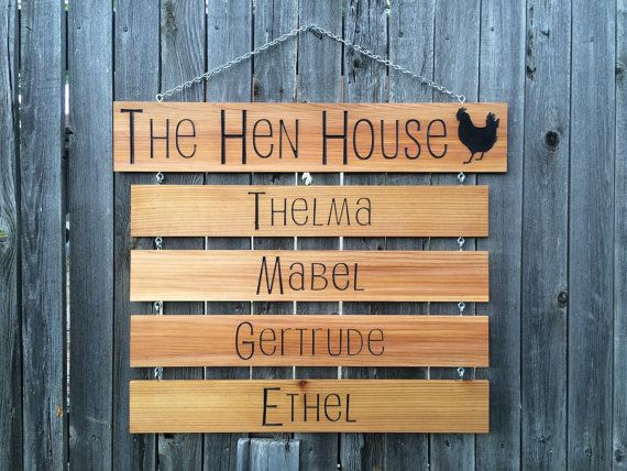 The Hen House sign with 4 drop down name signs