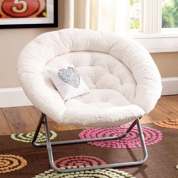 PB Teen Sherpa Hang-A-Round Chair, Ivory ($149) ❤ liked on Polyvore featuring home, furniture, chairs and accent chairs