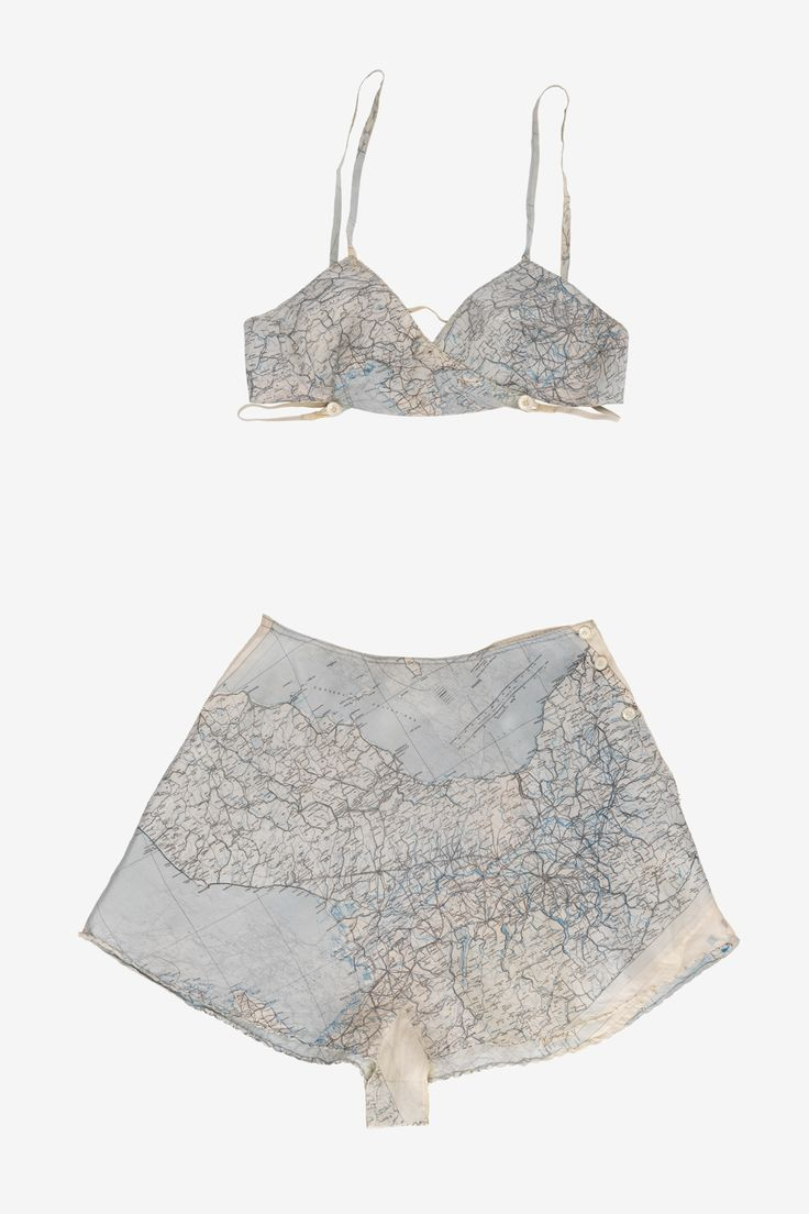 The most unlikely fabrics were pressed into service during the war. Military maps were often printed on silk and, equally frequently, found themselves out of date and surplus to requirements. It was from just such material – given to her by a boyfriend – that Patricia Mountbatten had pretty new underwear fashioned, including a set of cami-knickers and bra.