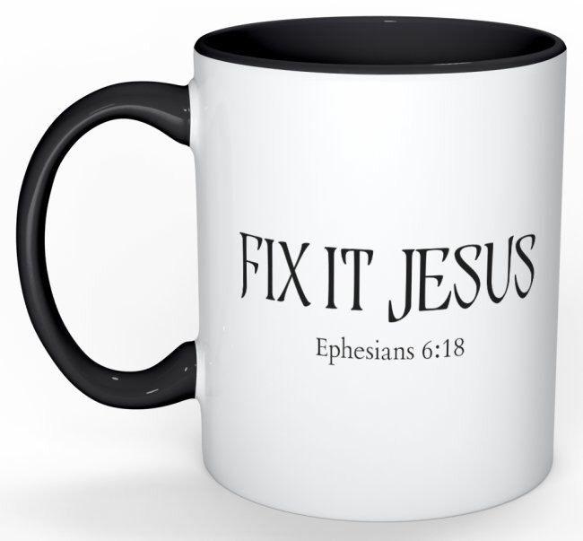Fix it Jesus MUG by smallblessingsbiggod on Etsy https://www.etsy.com/uk/listing/497365952/fix-it-jesus-mug