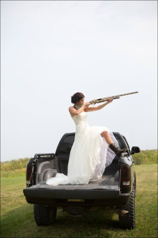 Shotgun country wedding...boom! love it.