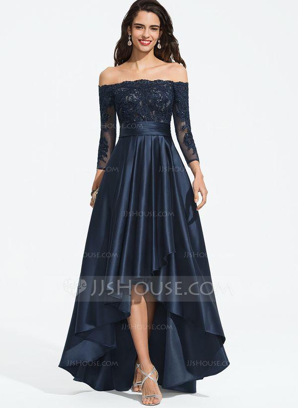 [AU$ 252.00] Linha A Fora do Ombro Assimétrico Cetim Vestidos de Baile – Casa de JJ   – ZOE