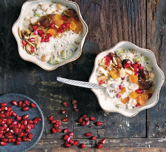 Lots of pomegranate + herbs are the ways to our hearts.