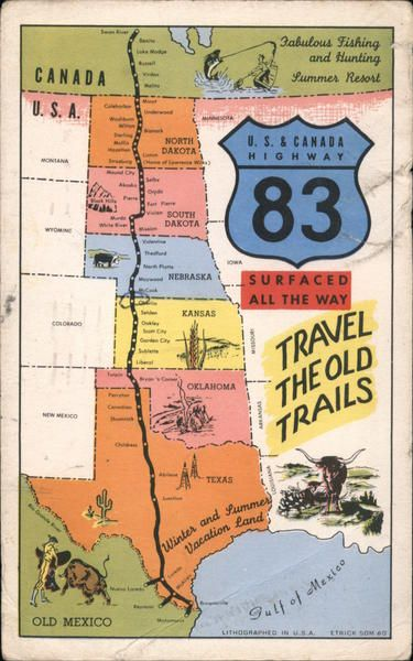 U.S. & Canada Highway 83 in 2019 | maps | Pictorial maps, Travel usa ...