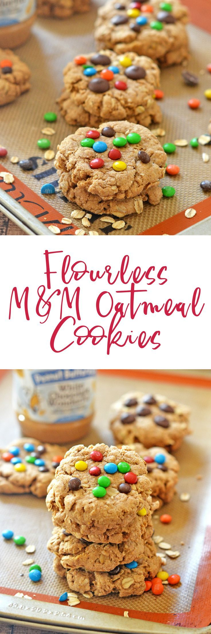 These Flourless M&M Oatmeal Cookies are perfect for packing in lunchboxes, munching on after school or work, and pack a nutritional wallop since they are packed full of oats and peanut butter. Believe me, you'd never guess these thick and chewy cookies a