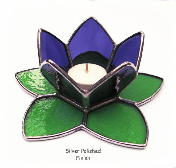 Stained Glass Candle Holder Purple/Green