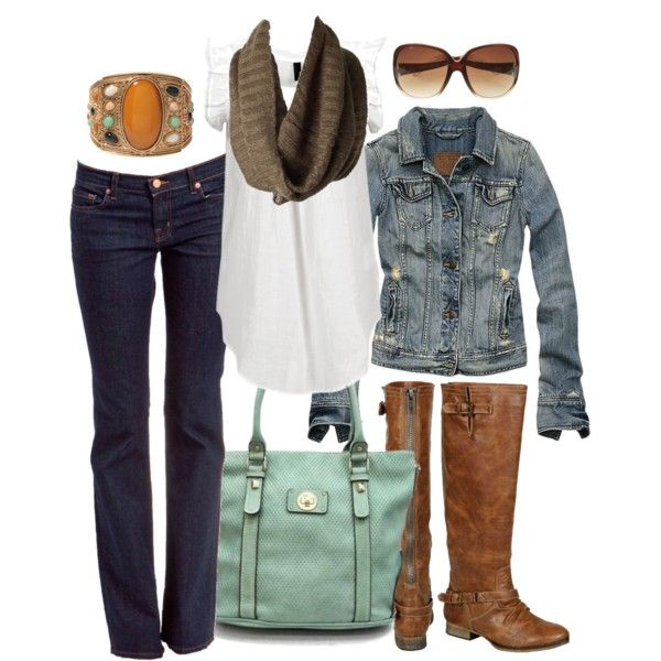 Fall OutfitCute Fall Outfits, Fashion, Casual Outfit, Fall Style, Jeans Jackets, Closets, White Shirts, Jean Jackets, Brown Boots