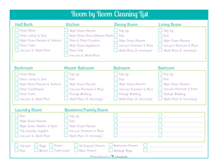 Top  Best Room Cleaning Checklist Ideas On