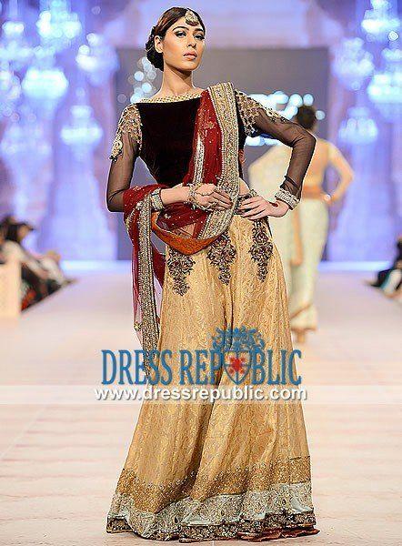 Black Long Shirt with Flared Lehenga Asifa Nabeel Pakistani Designer Clothes PFDC Loreal