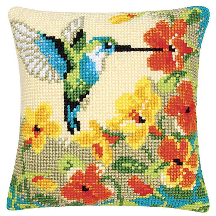 Hummingbird and Flowers Pillow Top - Cross Stitch, Needlepoint, Stitchery, and Embroidery Kits, Projects, and Needlecraft Tools   Stitchery