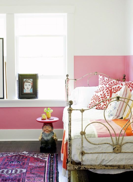 half painted wall, pink, white, Turkish rug, boho pillow mix, art window
