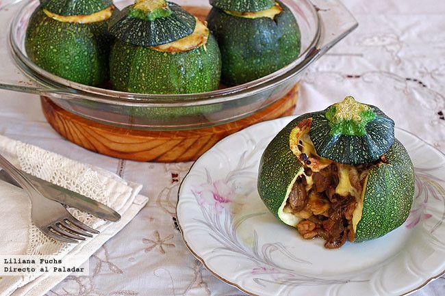Calabacines redondos rellenos de boletus y gambones. Receta