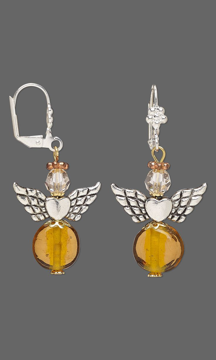 """Jewelry Design - Earrings with Lampworked Glass Beads, Antiqued Silver-Finished """"Pewter"""" Beads and Swarovski Crystal - Fire Mountain Gems and Beads"""