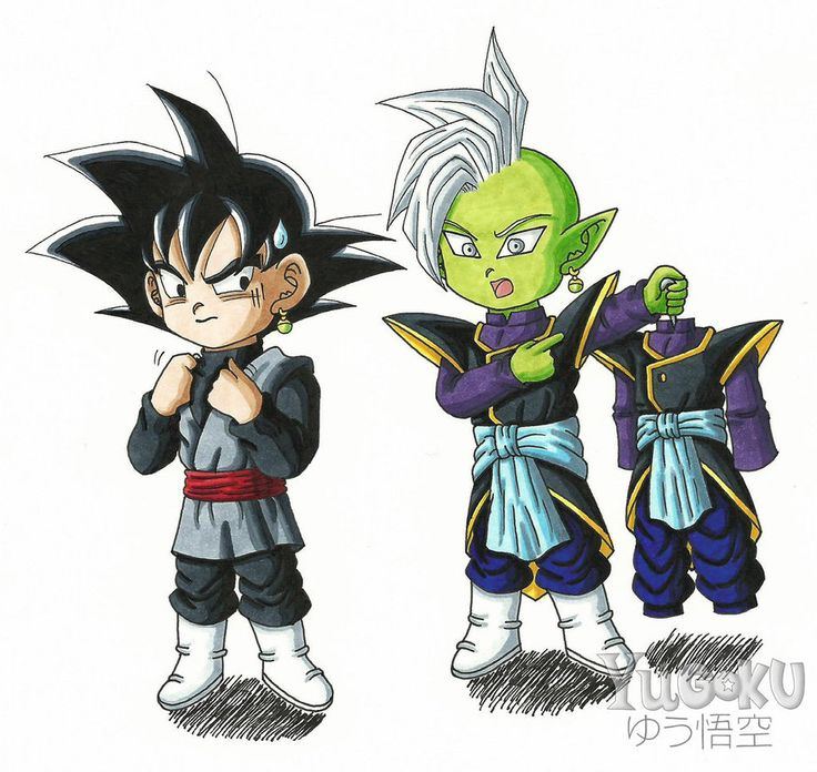 Chibi Black Goku and Zamasu by Yugoku-chan.deviantart.com on @DeviantArt