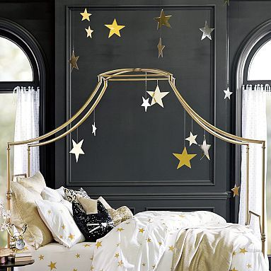 Maybe silver and gold for a feminine outer space playroom?  Emily + Meritt Hanging Stars #pbteen
