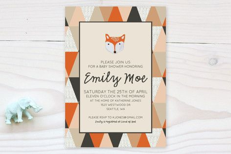 Fox Geometric Baby Shower Invitations - COLOURS FOR A QUILT
