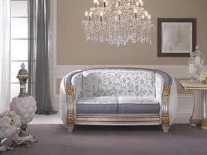 Liberty divano, Divano classico di alta qualità, con preziosi tessuti personalizzabili, per salotti e sale attesa
