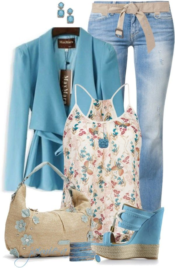 """Floral Straw Bag & Cami"" by jaimie-a ❤ liked on Polyvore #Women s Interest"