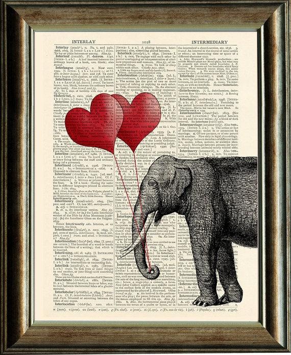 Vintage Elephant Illustration - vintage image printed on a page from    Vintage Elephant Illustration
