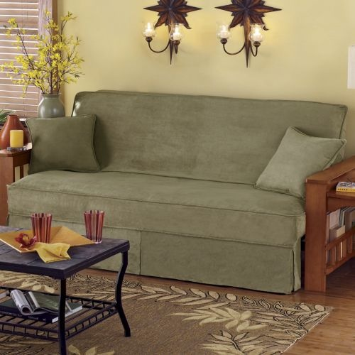 3 Piece Skirted Sueded Microfiber Futon Cover Set From Seventh Avenue