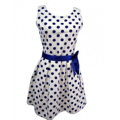 Naritva Blue Polka Dots Dress