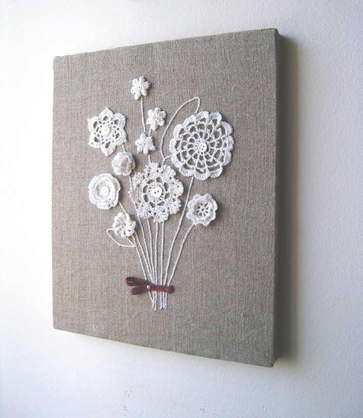 burlap canvas and sew on Grandma Davis' doilies: