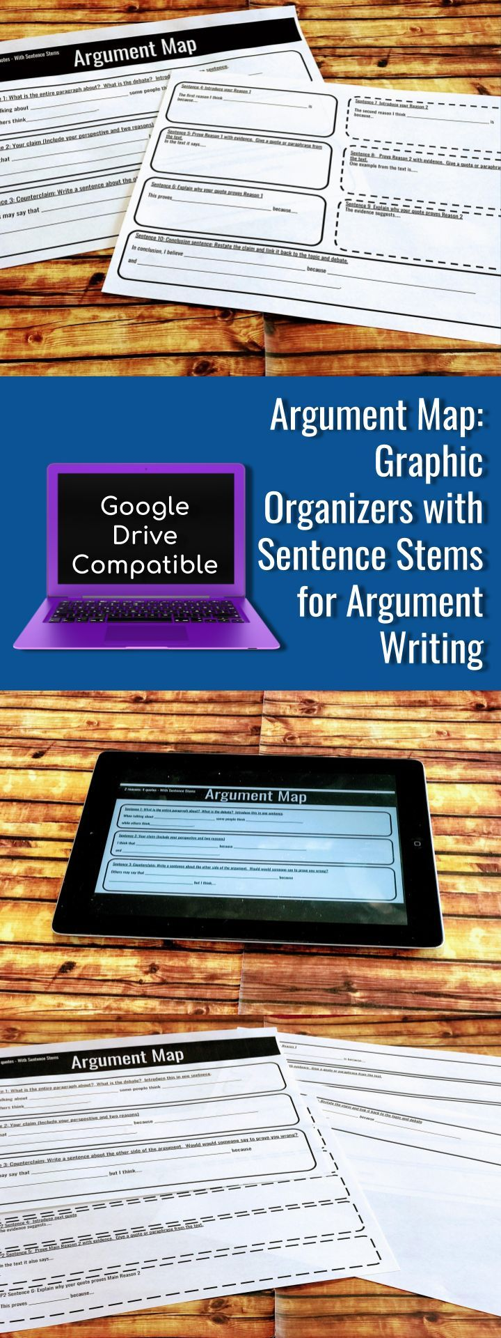 Argument Map Graphic Organizers For Argument Writing With Sentence Stems Argumentative Writing Sentence Stems Graphic Organizers [ 1920 x 720 Pixel ]