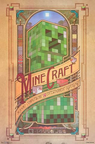 A great Minecraft video game poster beautifully laid out in the Art Nouveau…