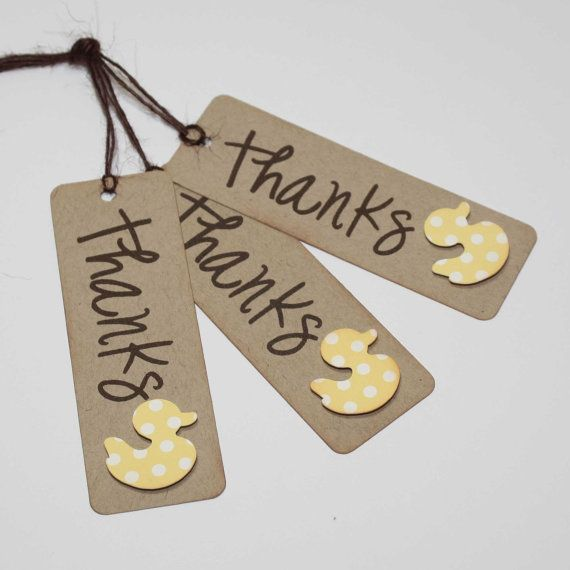 Duck Favor Tags / Baby Shower Thank You Tags / Favor tags / Set of 6