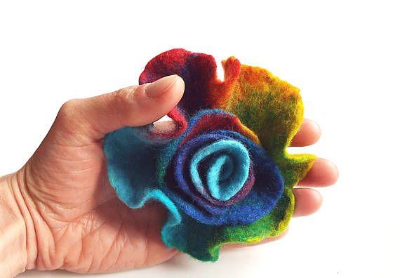Felted flower brooch  felt flower brooch multicolor flower