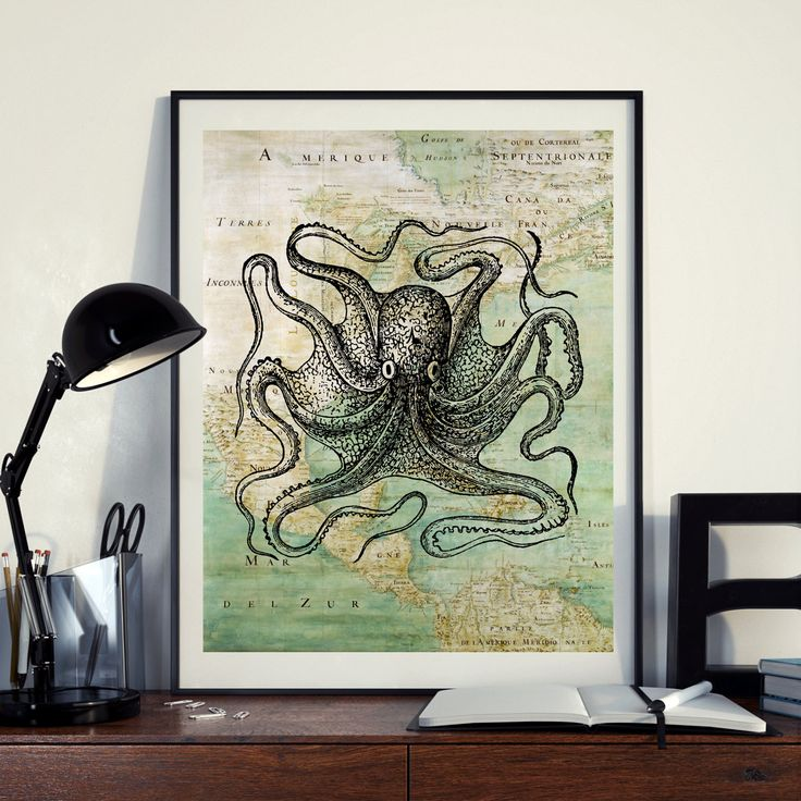 Vintage Map of North America Octopus Kraken Sea Ocean Seaside Nautical Poster Instant Download Printable A4 A3 8×10 & 11x14 Wall HQ300dpi by ZikkiArt on Etsy