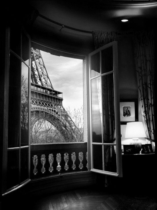 Room with a view-Paris | weheartit | black white photography | window seat | hotel room | stunning perspective | www.republicofyou...                                                                                                                                                     More
