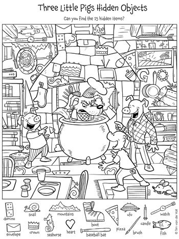 Can you find the 15 hidden objects in this Three Little Pigs printable?
