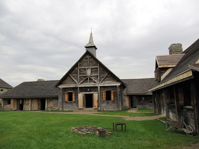 The Chapel, Sainte-Marie among the Hurons, Midland, Ontario, Canada    The Chapel is one of the many reconstructed wooden pioneer buildings within Sainte-Marie among the Hurons in Midland, Ontario, Canada. It gives a good taste of what the French Jesuit mission life was like.