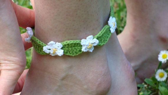 Crochet braccialetto cavigliera fiori braccialetto dell'involucro a piedi nudi per zolayka
