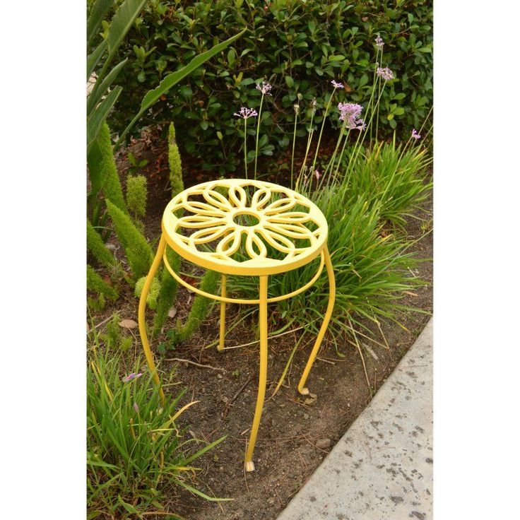 Innova Hearth & Home Uptown Outdoor Plant Stands - Set of 2 Yellow - S061-30A