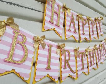 Pink mint and gold birthday banner. Pink by sprinkledprettyparty
