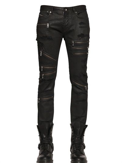 DIESEL BLACK GOLD - 16CM LIGHTLY COATED STRETCH DENIM JEANS - LUISAVIAROMA  - LUXURY SHOPPING WORLDWIDE