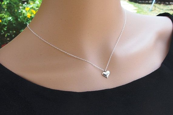 Sterling Silver necklace, Dainty necklace, Tiny heart necklace, Simple small heart necklace, Little silver heart, Silver jewelry via Etsy